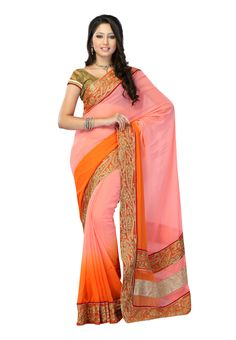 #Designer Pink & Orange #Saree  For More Saree Check this page now :-http://www.ethnicwholesaler.com/sarees-saris