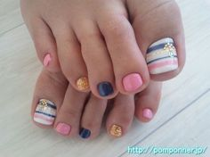 Pink, blue with stripes & design for toes