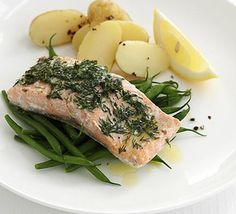 Salmon parcels with dill & wine butter