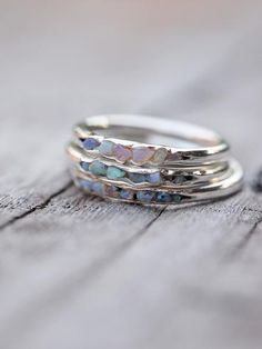 Opal Fossil Ring // Hidden Gems Opal is the October birthstone. Unique, multi-coloured gems that are never boring.