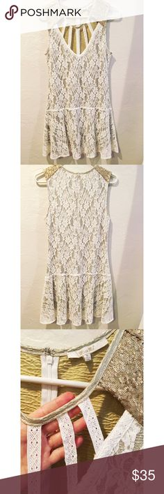 Miss Me lace dress - size M Fun and flirty! Miss Me drop-waist white lace dress with gold underlay and gold sequin detail on shoulders. Hidden back zipper. Excellent, like new condition. Miss Me Dresses