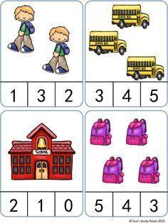Back to School Count and Clip Cards: Numbers Preschool Writing, Kindergarten Math Worksheets, Preschool Learning Activities, Preschool Classroom, Down Syndrom, Community Helpers Preschool, Montessori Math, Basic Math, Math For Kids