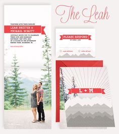 The Leah invitation suite www.paper-airplanes.ca #mountains #fold #ribbon #wedding