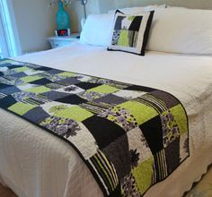 HANDMADE Fantasia King Queen Quilted Bed Runner by Jambearies. love these colours.