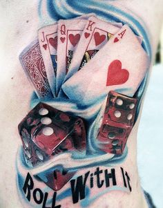 Tattoo Artist - Daniel Rocha - vegas and casino tattoo | www.worldtattoogallery.com - like the cards in this tatt