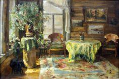Sergei Arsen'evich Vinogradov (Russian 1869–1938) [Peredvizhniki, Plein-air, Russian Impressionism] At the Dacha, 1932. Yekaterinburg Museum of Fine Arts, Russia.