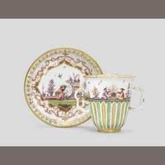 ♣~ Meissen Two-handled Chocolate Cup and Saucer, ~♣~ circa 1728 ~♣