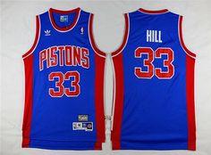b46468a206a5 Men s Detroit Pistons  33 Grant Hill Blue Hardwood Classics Soul Swingman  Throwback Jersey