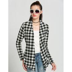 FINEJO White Stylish Ladies Women Casual Plaid Long Sleeve Coat Open Stitch Jacket | cndirect.com
