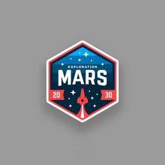 Follow us @logoinspirations Mars Patch by @emberstudio - http://ift.tt/2geIf0d - LEARN LOGO DESIGN @learnlogodesign @learnlogodesign
