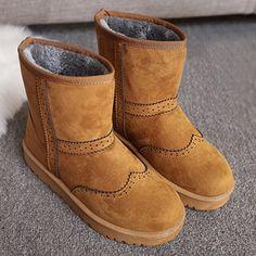 26.71$  Buy here - http://dipyz.justgood.pw/go.php?t=200059012 - Flat Heel Engraving Flock Snow Boots 26.71$