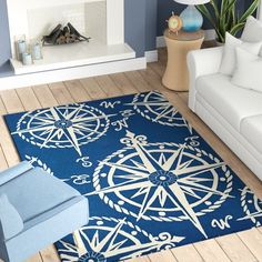 Up to Off on Beaufort Hand-Hooked Navy/Beige Indoor/Outdoor Area Rug Breakwater Bay - Affordable Price patio furniture White Area Rug, Beige Area Rugs, Blue Area, Coastal Area Rugs, Coastal Living, Old Bookcase, Compass Rose, Indoor Outdoor Area Rugs, Mold And Mildew