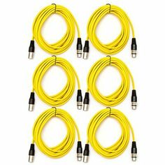 SEISMIC AUDIO - SAXLX-25 - (6 Pack) Yellow 25' XLR Patch or Microphone Cable by Seismic Audio. $59.99. (6 Pack) Yellow 25' XLR Patch or Microphone Cable Model Number: SAXLX-25 (Pack of 6)Yellow in ColorMetal 3 Pin XLR on each end (Male & Female)Heavy Duty Flexible Rubber JacketLength: 25 Feet for each cableShielded CablesThese cables are brand new.One year warrantyBalanced XLR (microphone) cables are ideal for connecting mixers, equalizers, crossovers, amplifiers...anything tha...
