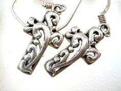 Sterling Silver Cross Earrings Vintage Open Work Dangle Drop Pierced Religious #Unbranded #DropDangle