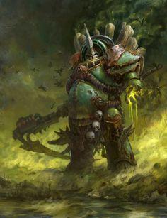 Death Guard Typhus by Tomas Duchek Warhammer Space Marine Warhammer 40k Figures, Warhammer Art, Warhammer 40k Miniatures, Warhammer Fantasy, Warhammer 40000, Warhammer Models, Chaos Legion, Tabletop, Space Marine