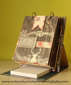 Tutorial Scrapbooking: Calendario de sobremesa porta notas