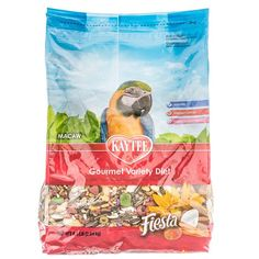 Kaytee Fiesta Gourmet Variety Diet Macaw food is packed with a fortified mix of fruits, vegetables, seeds, and healthful whole grains, Fiesta contains essential nutrients for healthy birds. With balanced Omega-3 and Omega-6 Polyunsaturated fatty acids, powerful antioxidants, and natural preservatives, Fiesta is the perfect balance of fun food and powerful nutrition.