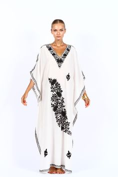 White cotton Kaftan dress with black embroidery hang2dry.com