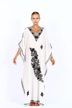 White cotton Kaftan dress with black embroidery hang2dry.com