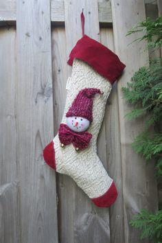 Bas de Noël fait à la main – Bonhomme hiver de la boutique JacquardVichy  sur… 8f16b3522fe