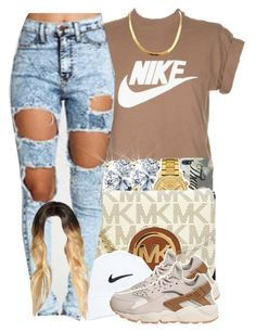 """"" by yeauxbriana ❤ liked on Polyvore featuring NIKE, Lacoste and Michael Kors"
