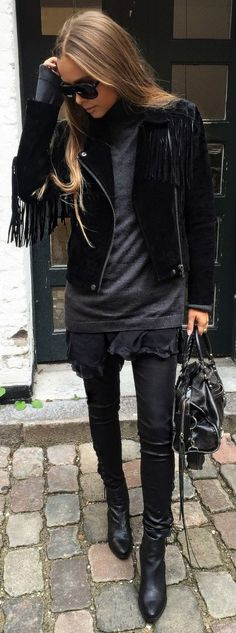 Maria Kragmann Black On Black Fall Inspo