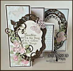 Our Daily Bread Designs Stamp Set: Forever Friends, Our Daily Bread Designs Paper Collection: Shabby Rose, Our Daily Bread Designs Custom Dies: Vintage Borders, Vintage Labels, Bitty Blossoms, Bitty Butterflies, Fancy Foliage, Fun and Fancy Folds - Tri-Fold Shutter