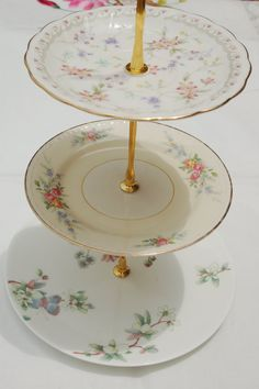 Cakestand - Vintage Cake Stand - The Pretty In Pastels Wedgwood Lemon Tree Cakestand, Three Tier $75.20