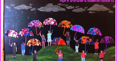 "To go with all of the awesome Spring crafts we made for our Spring Bulletin Board , we also had to have an ""April Showers"" bulletin board! W..."