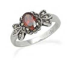 Vintage Style Ring With Red CZ and Marcasite