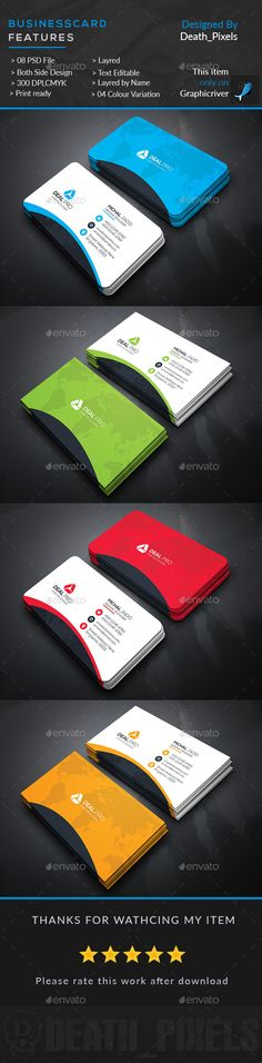 Business Card Design Template - Business Cards Print Template PSD. Download here: https://graphicriver.net/item/business-card/17681055?ref=yinkira