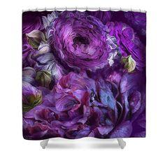Peonies In Purples 2 designer shower curtain featuring the art of Carol Cavalaris.