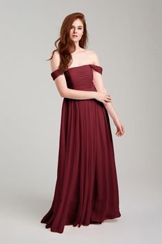 Riley Bridesmaid Dress in Burgundy in Chiffon