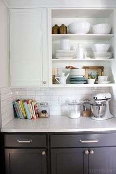 Open shelf styling in the kitchen with touches of brass