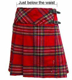 kilt/jupe pour femme - tartan Royal Stewart - 51 cm (longueur): Amazon.fr: Vêtements et accessoires