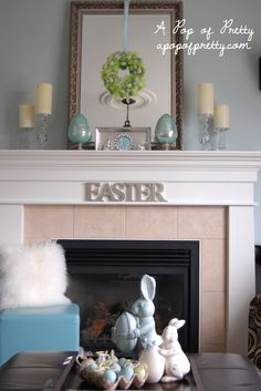 decorating ideas for mantels | Easter Mantel ideas - A Pop of Pretty: Canadian Decorating Blog | A ...