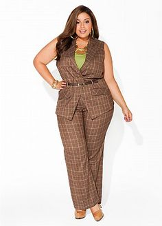 This pants suit is perfect for work, or a special occasion! I would do it up with lime green accents to bring out that cami underneath the vest...If you don't want your arms out, a long sleeved top would look just as good. Also, a pair of wedge heels would go great with this look.