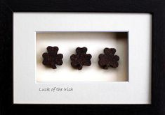 Luck Of The Irish is handmade it Ireland with real Irish bog. This triple shamrock is a great good luck gift with a uniquely Irish twist. Frame size Shipping anywhere! Hanging Frames, Frames On Wall, Framed Wall, Handmade Decorations, Handmade Crafts, Shamrock Pictures, Celebrating Friendship, Good Luck Gifts, Irish Design