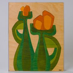 Modernist Still Life Handmade Puzzle Painting by ephemerascenti, $55.00