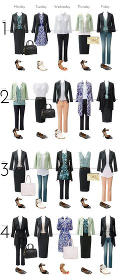 Business travel - mix & match wardrobe pieces to travel light