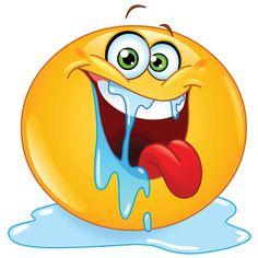 Ga je gang en post deze expressieve smiley met zijn hongerige ogen en pool van kwijlen!  ➢ http://www.symbols-n-emoticons.com/2013/02/drooling-smiley.html