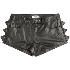 Moschino Cheap and Chic Leather Shorts with Spike Embellishment ($312) ❤ liked on Polyvore