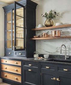 modern kitchen design with navy kitchen cabinets, black kitchen cabinets in modern farmhouse kitchen Home Kitchens, Kitchen Design, Kitchen Design Trends, Kitchen Renovation, Home Decor Kitchen, Kitchen Trends, Kitchen Interior, Modern Farmhouse Kitchens, Kitchen Cabinets