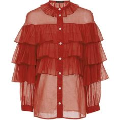 Jill Stuart Genevieve Ruffle Tier Blouse ($400) ❤ liked on Polyvore featuring tops, blouses, red, 3/4 sleeve blouse, red ruffle top, tiered ruffle blouse, ruffle top and layered ruffle top