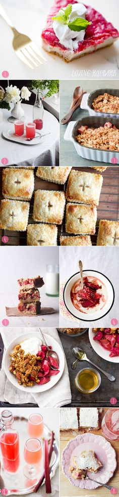 9 Rhubarb Dessert Recipes [1: Vegan rhubarb cheesecake | 2: Rhubarb syrup spritzer | 3: Rhubarb crisp | 4: Rhubarb cream cheese hand pies | 5: Strawberry rhubarb crumb bars | 6: Poached rhubarb royale | 7: Rhubarb granola | 8: Ginger rhubarb bee's knees | 9: Rhubarb pie with coconut pudding.]