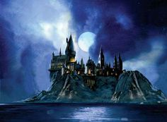 """""""Full Moon at Hogwarts"""" Painted by Jim Salvati   unframed Paper Print $225.00 // framing available. unframed Canvas Print $550.00 // framing available.   Harry Potter   Fine Art Giclee on Paper"""