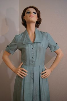 Vintage 50s Blue Silk Day Dress - S. $42.00, via Etsy.