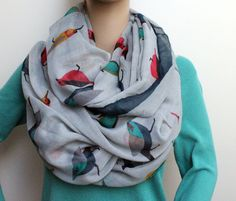 Grey Birds Infinity Scarf Silky Loop Scarf Aztec Print Wide Scarf Chunky Infinity Scarf Loop Scarf. $28.99, via Etsy.