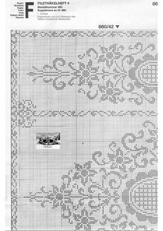 "Photo from album ""Burda special Filet au crochet on Yandex. Filet Crochet Charts, Crochet Stitches Patterns, Lace Patterns, Thread Crochet, Embroidery Patterns, Cross Stitch Patterns, Crochet Curtains, Crochet Tablecloth, Fillet Crochet"