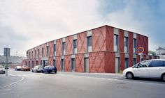 Brick is making a comeback. The green-roofed House for Solidarity is wrapped in an intricate brick pattern that references the workshop tradition of Beauvais, in the North of France. French architecture studio Ellenamehl created the weaving diamond-like brick facade by overlapping and overhanging each of the 38,000 bricks in seven different ways. They used 3D models and parametric tools, proving the compatibility between new digital tools and traditional building materials.
